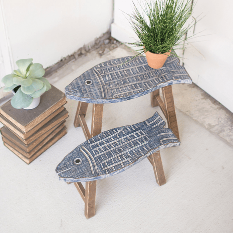 Pacific Fish Carved Wood Stools - Set of 2