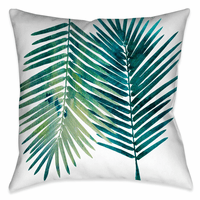 Pacific Palms Teal Outdoor Pillow