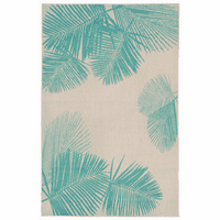 Pacific Palms Turquoise Indoor/Outdoor Rug Collection