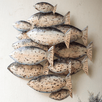 Painted Recycled School of Fish Wall Art