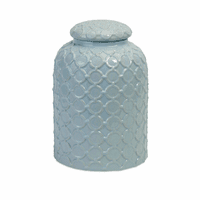 Pale Blue Cross-Hatched Lidded Jar