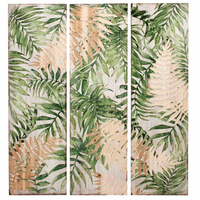 Palm Foliage Wood Triptych