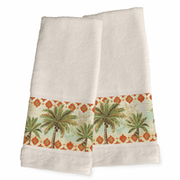Palm Tile Hand Towels - Set of 2 - OUT OF STOCK - ETA - 1/6/2021