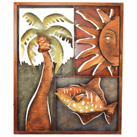 Palm Tree, Sun & Fish Metal Panel