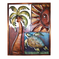 Palm Tree, Sun & Sea Turtle Metal Panel - Large