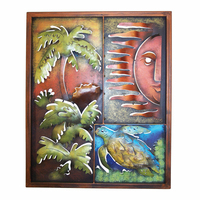 Palm Tree, Sun & Sea Turtle Metal Panel - Small