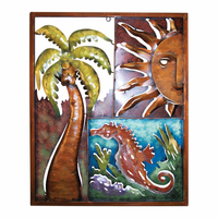 Palm Tree, Sun & Seahorse Metal Panel
