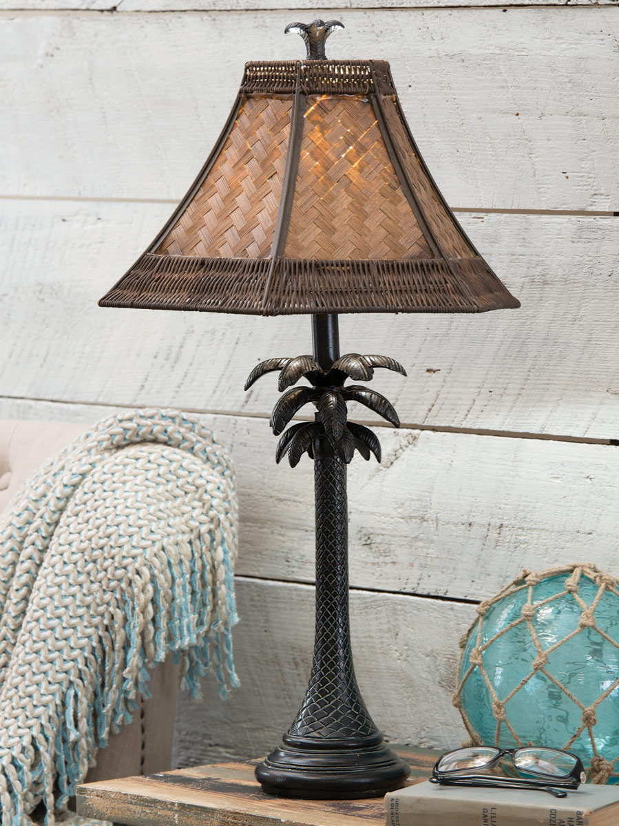 Beach Table Lamps Palm Tree Table Lamp With Rattan Shade