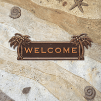 Palm Tree Welcome Plaque - Antique Copper