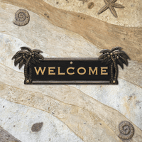 Palm Tree Welcome Plaque - Black and Gold