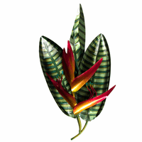 Papeete Tropical Heliconia Metal Wall Art