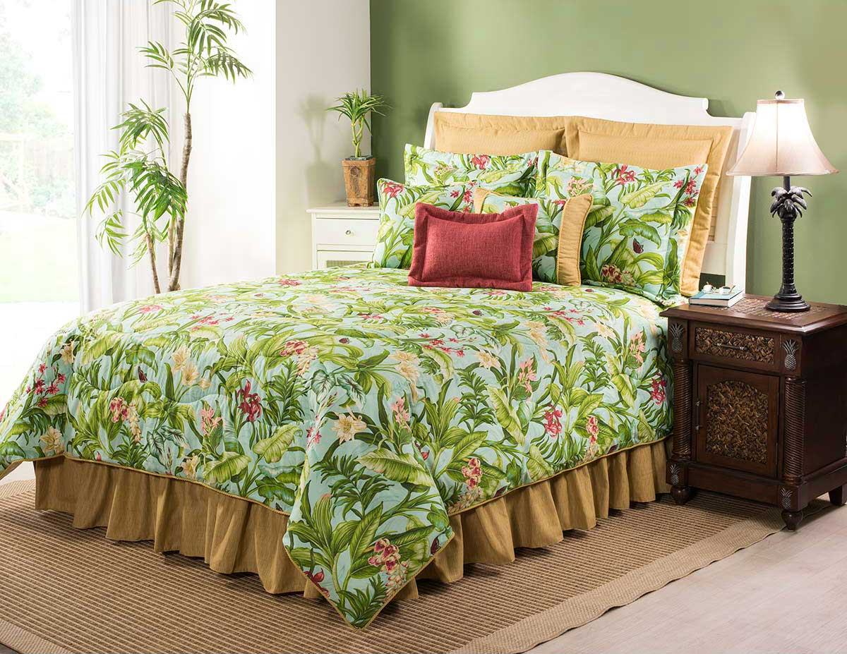 Paradise In Bloom Comforter Set With 18 Inch Drop Bedskirt Cal King