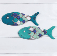 Paradise Island Carved Fish Wall Art - Set of 2