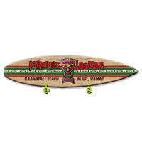 Paradise Lounge Surfboard Wood Personalized Sign