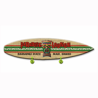 Paradise Lounge Surfboard Wood Personalized Sign - 12 x 44