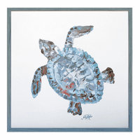 Pastel Sea Turtle Framed Print - Left Facing