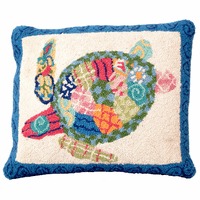 Patchwork Sea Turtle Hooked Wool Pillow