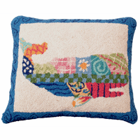 Patchwork Sperm Whale Hooked Wool Pillow