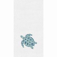 Patterned Blue Turtle Waffle Weave Towels - Set of 6