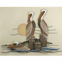 Perching Pelicans Wall Hanging