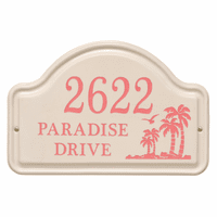 Personalized Palm Tree Arched Address Plaque - Coral