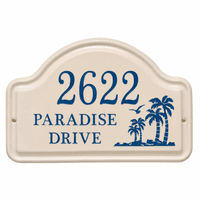 Personalized Palm Tree Arched Address Plaque - Dark Blue