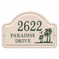 Personalized Palm Tree Arched Address Plaque - Green