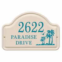 Personalized Palm Tree Arched Address Plaque - Sea Blue