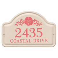 Personalized Sand Dollar Arched Address Plaque - Coral