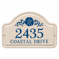 Personalized Sand Dollar Arched Address Plaque - Dark Blue
