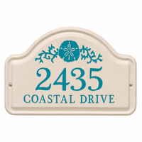Personalized Sand Dollar Arched Address Plaque - Sea Blue