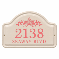 Personalized Starfish Arched Address Plaque - Coral