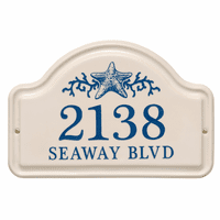 Personalized Starfish Arched Address Plaque - Dark Blue