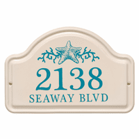 Personalized Starfish Arched Address Plaque - Sea Blue