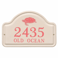 Personalized Turtle Arched Address Plaque - Coral