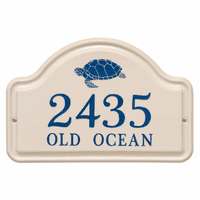 Personalized Turtle Arched Address Plaque - Dark Blue