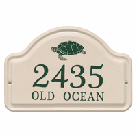 Personalized Turtle Arched Address Plaque - Green