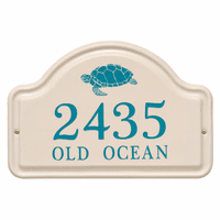 Personalized Turtle Arched Address Plaque - Sea Blue