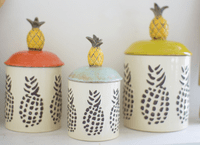 Pineapple Lidded Canisters - Set of 3