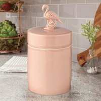 Pink Flamingo Ceramic Canister