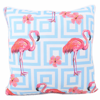 Pink Flamingos and Blue Squares Indoor/Outdoor Pillow