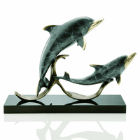 Playful Dolphin Duo Sculpture