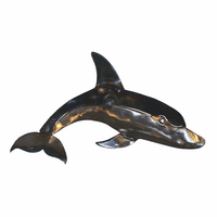 Polished Metal Dolphin Wall Art - Small
