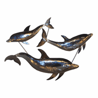 Polished Metal School of Dolphins Wall Art