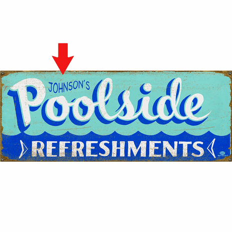Poolside Refreshments Personalized Sign - 44 x 17
