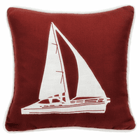 Prescott Navy Red Sailboat Pillow