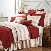Prescott Red 3 Piece Duvet Set - Super Queen