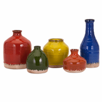 Primary Glaze Mini Vases - Set of 5