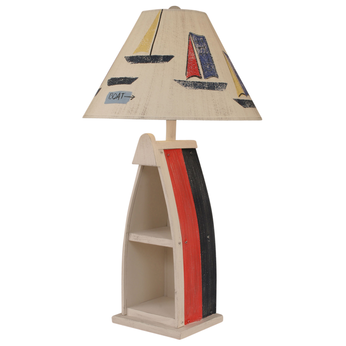 Beach Table Lamps Primary Stripe Boat Table Lamp With Sailboat Shade Bella Coastal Decor