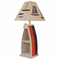 Primary Stripe Boat Table Lamp with Sailboat Shade